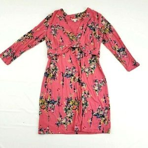 Boden Floral Print Empire Waist Faux Wrap Dress